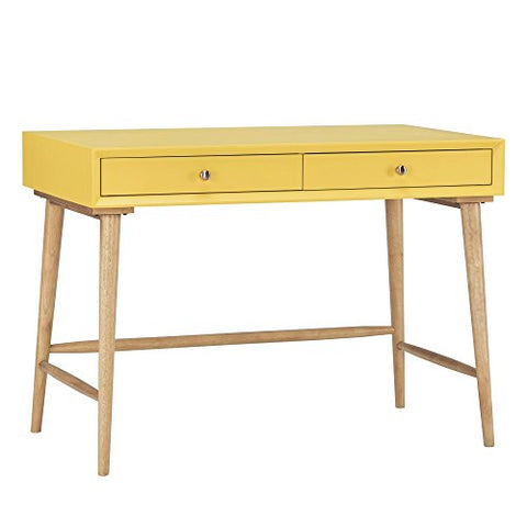 Mid Century Modern Wood Computer Writing Desk with 2 Drawer and Natural Legs  (Yellow)