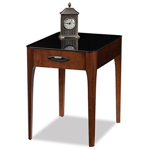 Contemporary Black Tempered Glass Top Side End Table with 1 Drawer in Chestnut Finish