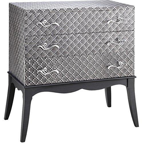 Contemporary Gray Storage Chest with 3 Storage Drawers | Flared Legs, Textured Finish