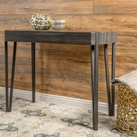 Modern Rustic Wood Console Sofa Table with Metal Frame and Legs