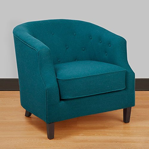 Mid Century Retro Modern Style Turquoise Button Tufted Upholstered Tub Accent Armchair with Wood Legs