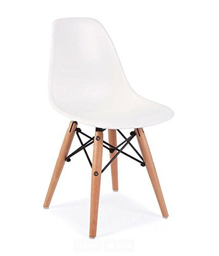 Mid Century Modern CHILDREN KIDS White DSW Chair with Wood Dowel Base Inpired by Eames design - HIGH QUALITY Matte Finish
