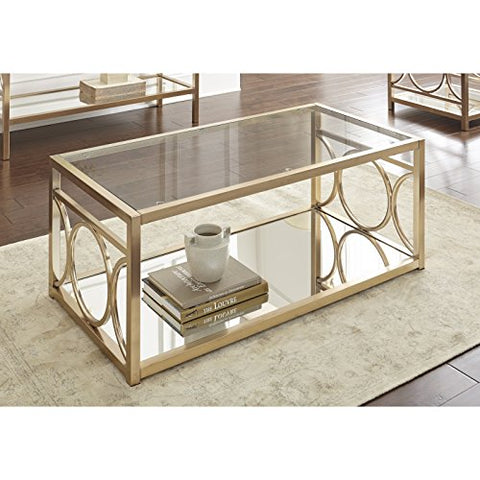 Contemporary Glass Top Accent Cocktail Coffee Table with Gold Chrome Geometric Base & Mirrored Shelf