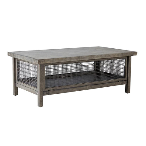 Industrial Rustic Metal Wire Mesh Accent Coffee Cocktail Table with Concrete Top - Includes Modhaus Living Pen
