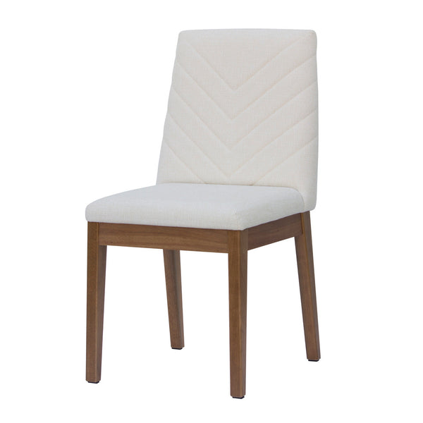Contemporary Chevron Pattern Upholstered Set of 2 Dining Chair with Solid Wood Frame (Beige)