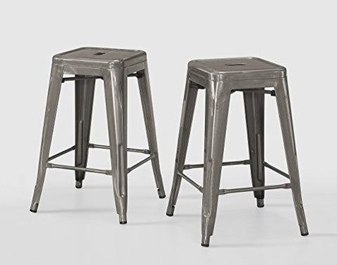 ModHaus Set of 2 Gunmetal Tolix Style Metal Counter Stools in Glossy Powder Coated Finish