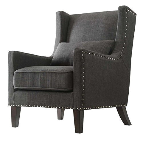 Contemporary Dark Gray Linen Upholstered Accent Wingback Chair with Silver Nailhead Detail & Accent Pillow