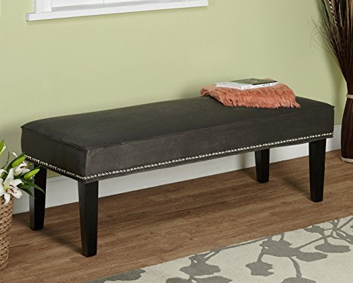Modern Gray Fabric Upholstered Microfiber with Nailheads Bench Accent Bench Ottoman Seating Footrest