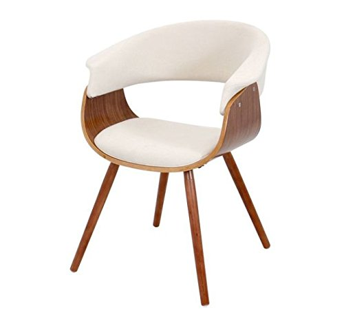 Mid Century Retro Modern Walnut Molded Plywood Cream Upholstery Accent Dining Chair with Solid Wood Legs