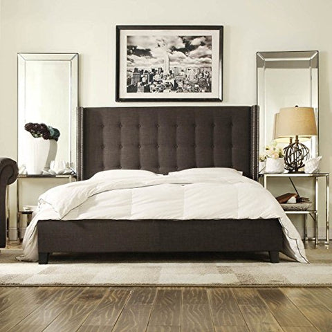 Modern Button Tufted Wingback Dark Gray Linen Upholstered Queen Headboard & Bed with Silver Nailheads