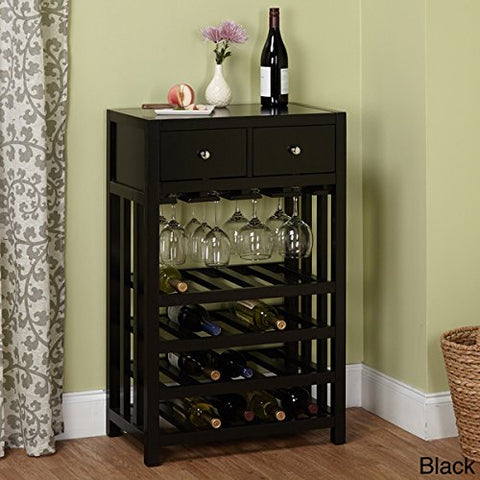 Simple Living Napa Wood 20-bottle Wood Wine Cabinet Tower with Two Drawers
