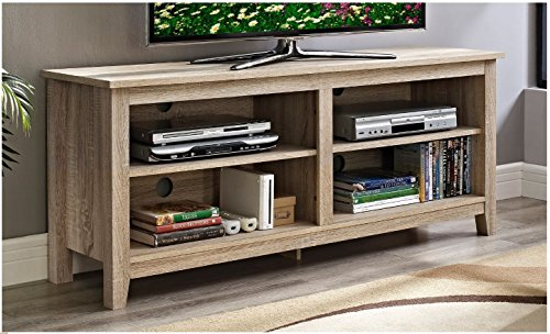 Modern Rustic Weathered Natural Oak Wooden TV Media Stand for 60 in TV with Open Storage