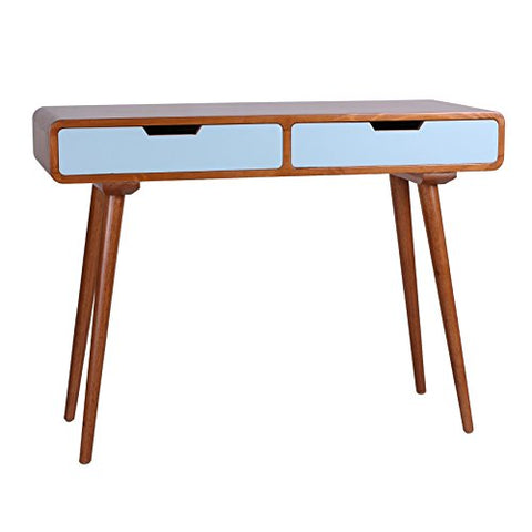 Mid Century Modern Wood 2 Aqua Drawers Accent Console Sofa Table with Long Angled Legs and Curved Edges