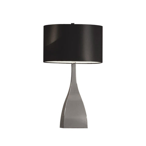 Modern Tapered Chrome Plated Metal Base with Black Shade Table Lamp