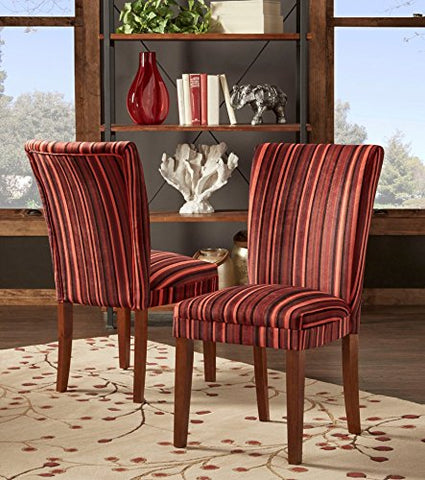 Modern Red Multi Color Striped Fabric Parsons Style Dining Side Chairs | Wood Finish Wooden Legs - Set of 2