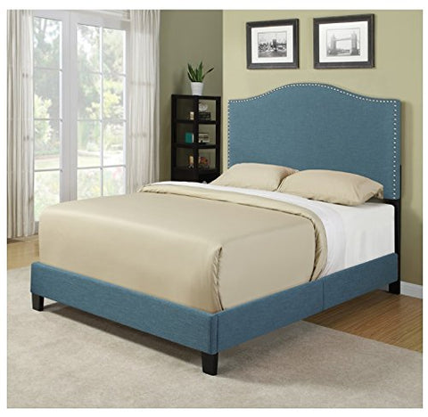 Modern Turquoise Arch Upholstered Padded Queen Headboard & Platform Bed with Silver Nailhead Accents