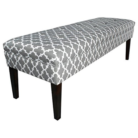 Contemporary Button Tufted Geometric Print Upholstery Bench with Espresso Finished Legs (Gray)