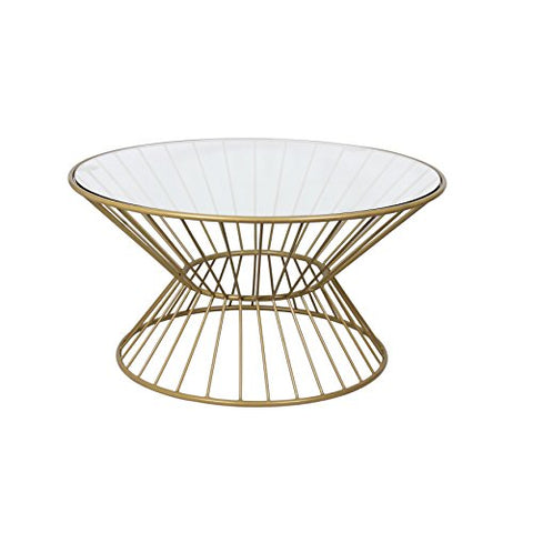 Gold Metal Round Coffee Table.Antique Gold Metal Wire Framed Round Cocktail Coffee Table With Glass Top