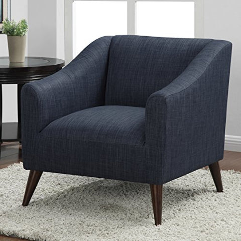 Mid Century Navy Blue Linen Upholstered Accent Arm Chair with Solid Wood Legs