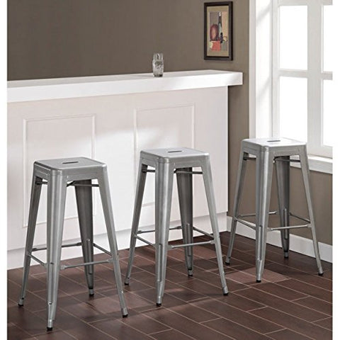 Admirable Modern Backless French Bistro Tolix Style Metal Kitchen Stools Counter Height Silver Finish 30 Inch High Set Of 3 Ibusinesslaw Wood Chair Design Ideas Ibusinesslaworg