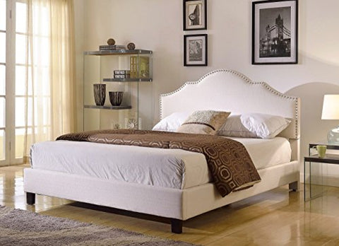 Modern Ivory Linen Upholstered Arch Queen Headboard with Nailheads & Platform Bed