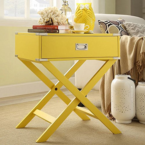 Modern Wood Accent X Base Nightstand Campaign Sofa Table Rectangle Shaped with storage Drawer (Yellow)
