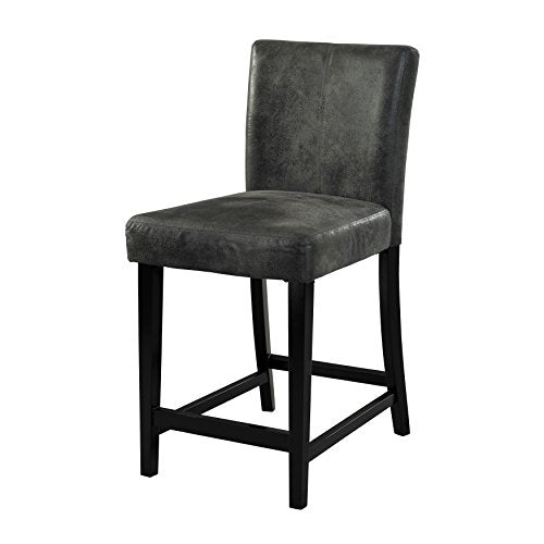 Contemporary Pine Wood Black Upholstery High Back Counter Stool with Wood Legs