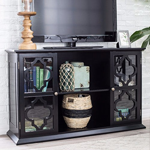 Modern Moroccan Black Quatrefoil TV Stand Media Console with Glass Doors