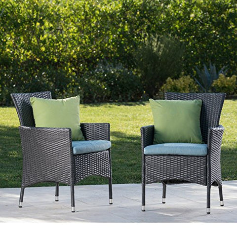 Contemporary Modern Outdoor Wicker Dining Chair with Metal Frame (Gray Wicker + Teal Cushion)