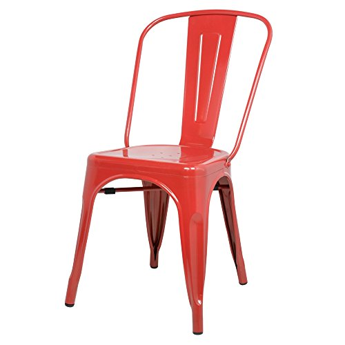 ModHaus Red Xavier Pauchard Tolix A Style Chair in Powder Coat Finish Galvanized Steel Metal Stackable