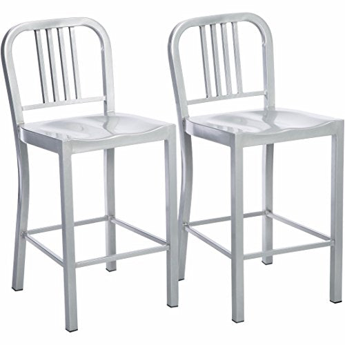 Set of 2 Silver Modern Industrial Metal Counter Stools with Back in Glossy Powder Coated