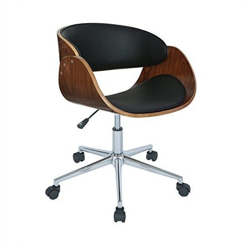 Modern Wood Faux Leather Upholstery Seat Office Chair with Chrome Finish Base (Black)