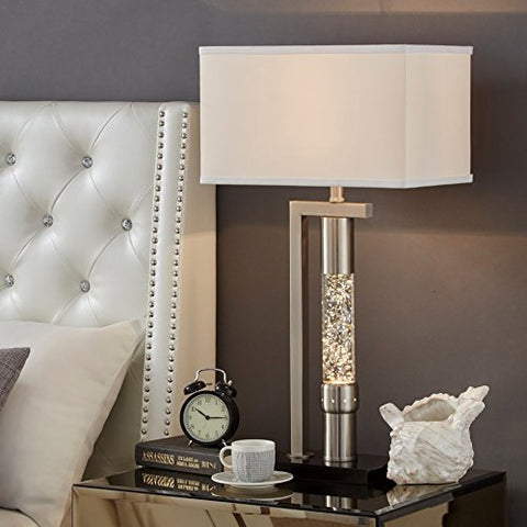 Modern Metal Rectangular Shade Sand Nickel Finish Table Lamp with Dancing Water Feature