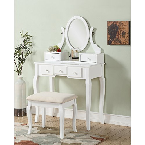 Modern Transitional Wood Vanity Table and Stool with 5 Drawers and Oval Mirror (White)