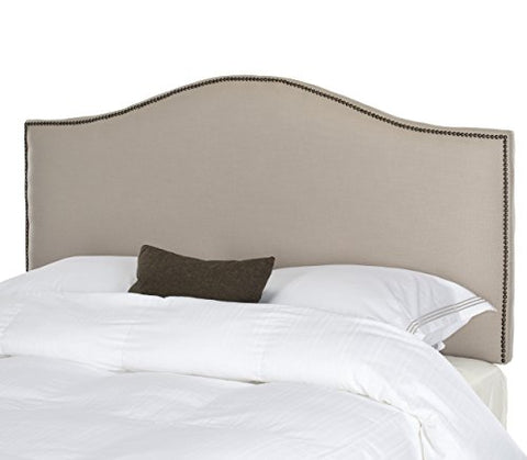 Classic Arch Taupe Greige Upholstered Queen Headboard with Antique Brass Nailheads Trim