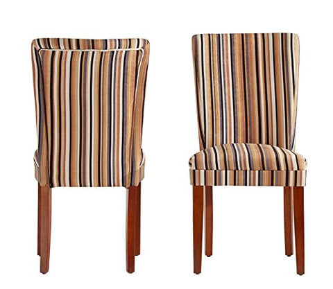 Modern Multi Color Striped Fabric Parsons Style Dining Side Chairs | Wood Finish Wooden Legs - Set of 2