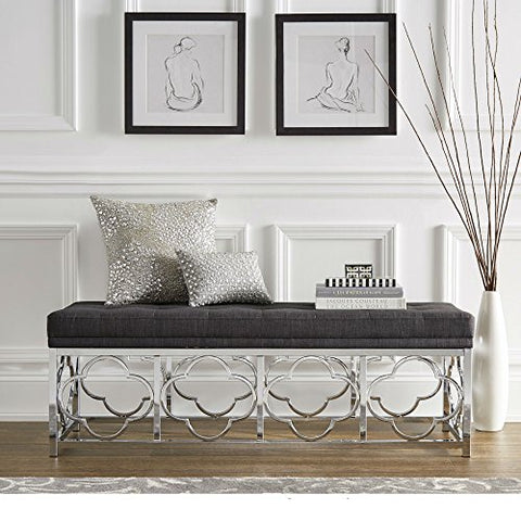 Contemporary Transitional Upholstered Entryway Bench with Quatrefoil Base (Dark Gray Linen - Tufted Top)