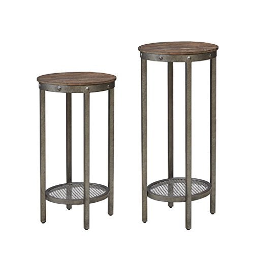 Industrial Rustic Chic Wood and Metal Oval Pedestals - Set of 2