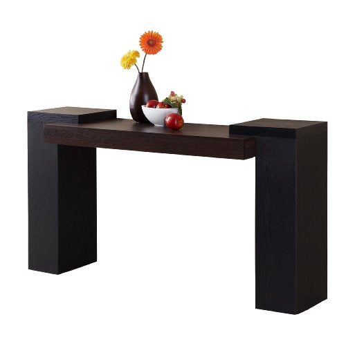 Furniture of America Century Console Table, Dark Walnut and Black