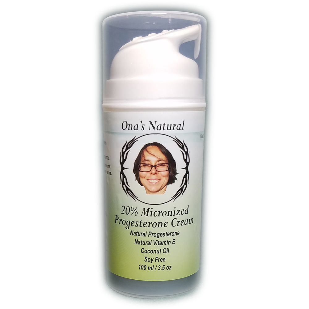 Ona's 20% Concentrated Natural Progesterone Cream, Almond Oil, 3.5 oz Pump