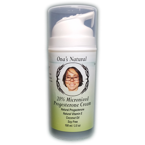 Ona's 20% Concentrated Natural Progesterone Cream, Coconut Oil, 3.5 oz Pump