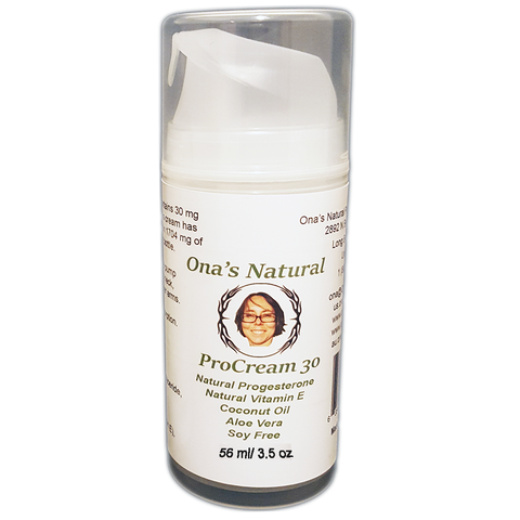 Ona's Natural ProCream 30 - 3% Progesterone Cream,  Coconut Oil, 3.5 oz pump