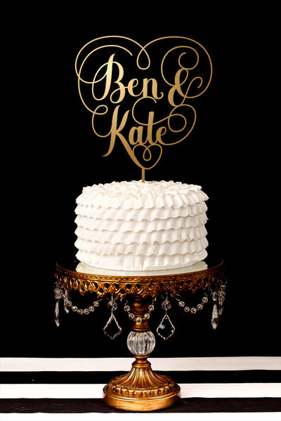 Heart Wedding Cake Topper - Custom First Name Cake Topper