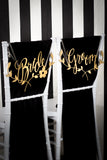 Bride & Groom Floral Branch Chair Signs
