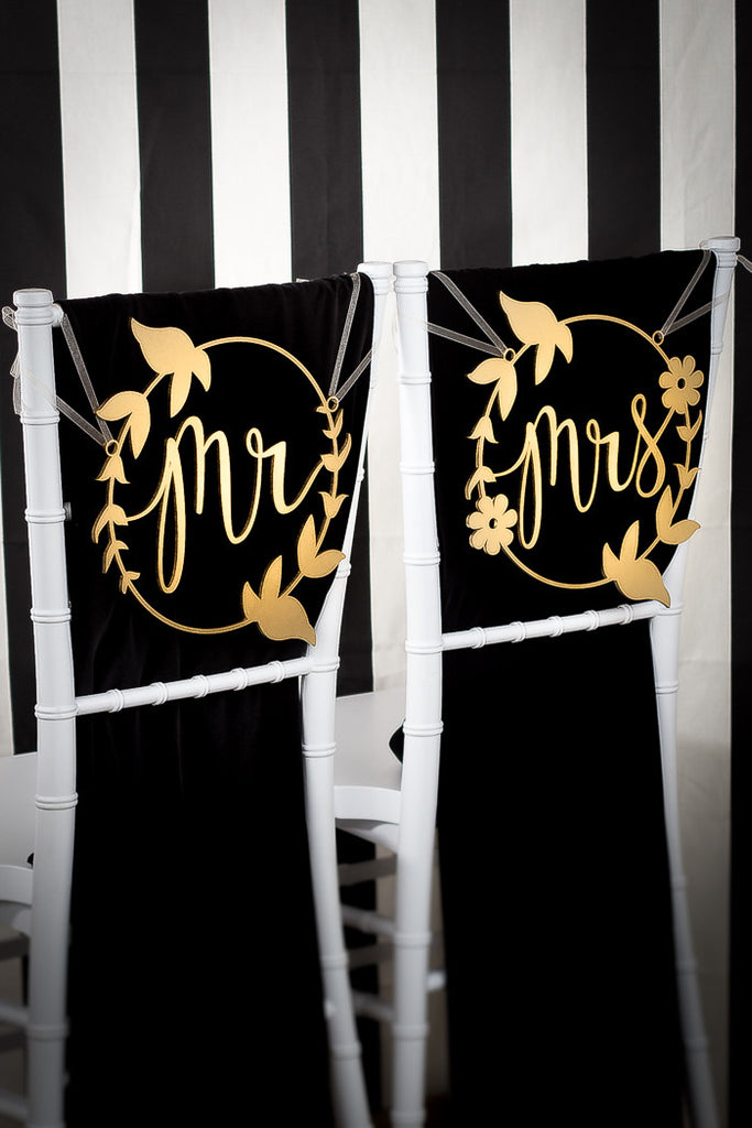 Mr & Mrs Floral Wreath Chair Signs