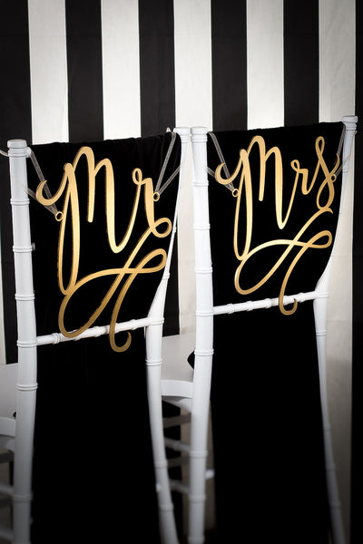 Mr & Mrs Flourish Chair Signs