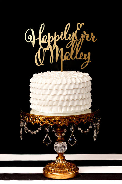 Happily Ever After Custom Last Name Cake Topper