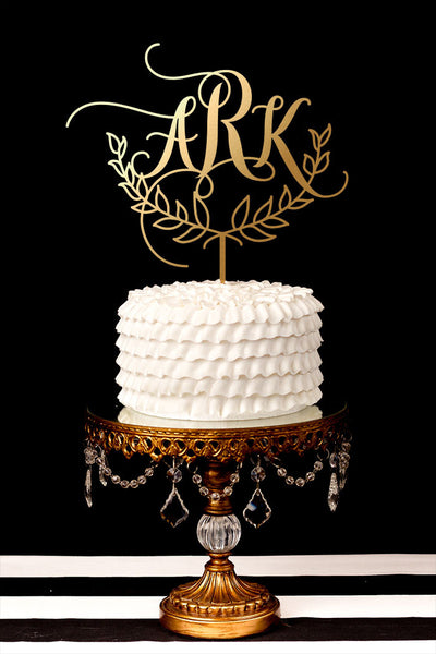 Custom Monogram Wedding Cake Topper with Split Branch Laurel