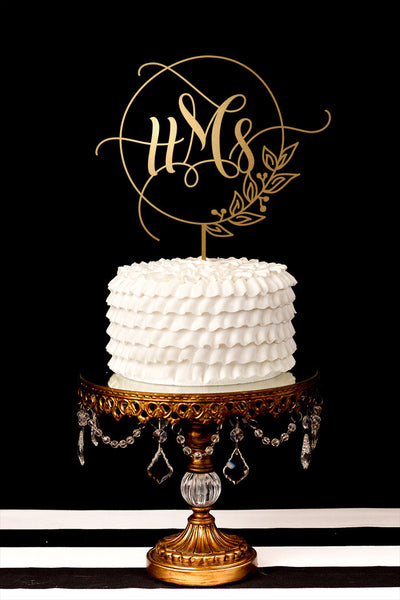 Custom Monogram Wedding Cake Topper with Round Laurel Wreath