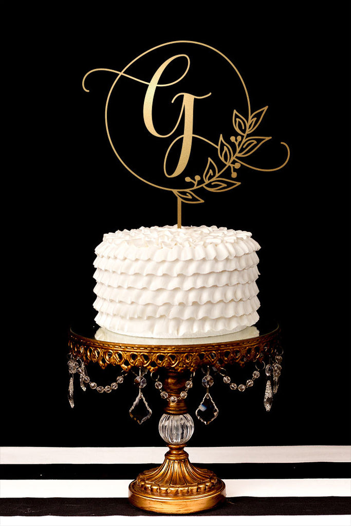 Single Letter Monogram Wedding Cake Topper